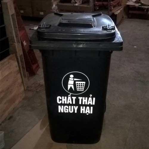 Thùng rác công cộng 120 lít màu đen