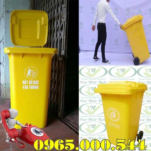 Thùng rác công cộng 120 lít màu vàng