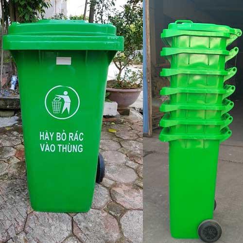 Thùng rác công cộng 120 lít màu xanh