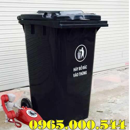 Thùng rác công cộng 240 lít màu đen