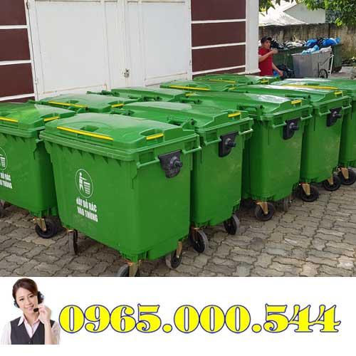 Xe gom rác nhựa 660 lít
