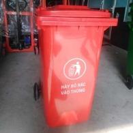 Thùng rác nhựa HDPE 120 lít màu đỏ